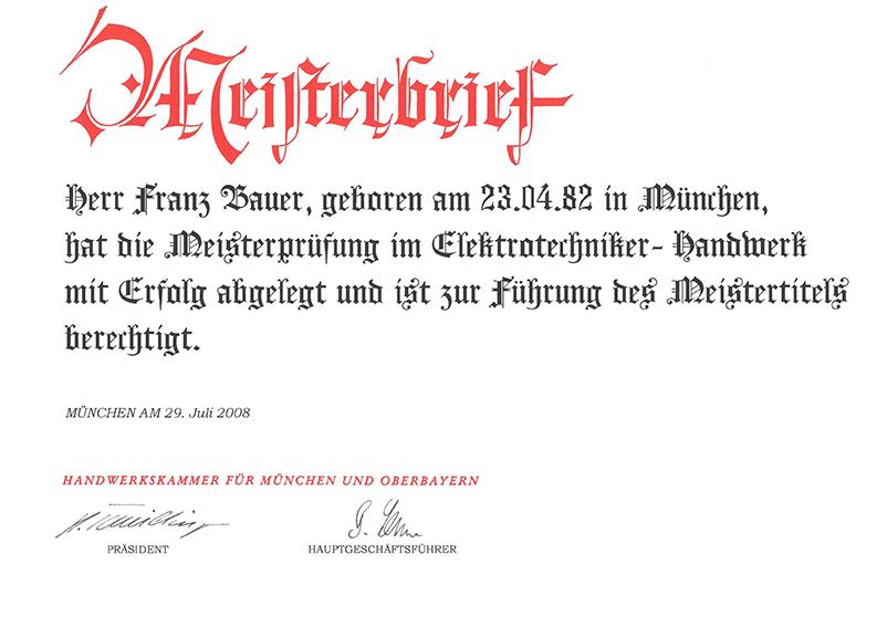 Meisterbrief_Bauer Elektrotechnik_Franz Bauer_web