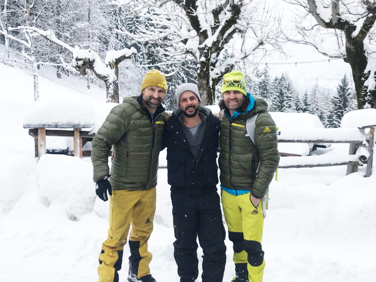 Wochenende und Schneeschuhwanderung mit den Huberbuam